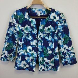 WHBM Floral Print Cotton Blue Blazer -4